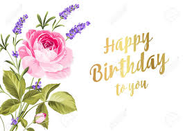 Happy Birthday Card Greeting Card With Rose And Lavender Spring