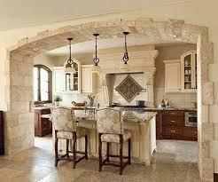 old italian style kitchen design with white tile backsplash and wooden kitchen cabinet also white kitchen island decor idea