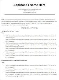 Gallery Of Resume Templates Free Printable Sample Ms Word Templates