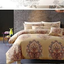 gold super king bedding sets duvet cover set satin cotton soft silky quilt bed sheets