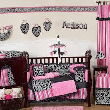 image of pink baby girl crib bedding sets