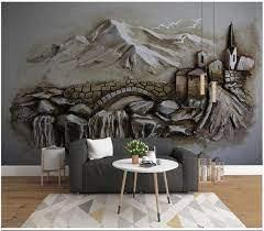 3D wallpaper mural Relief Hill Hut ...