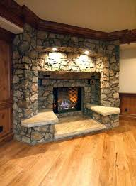 corner fireplace ideas brown stacked stone faced living room in best modern design