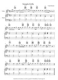 simple gifts appalachian shaker song sheet for violin song sheet violin sheet