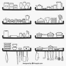 kitchen utensils silhouette vector free. Cute Kitchen Utensils On Shelves Free Vector Silhouette R