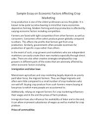 sample essay on economic factors affecting crop marketing sample essay on economic factors affecting crop marketing crop production is one of the oldest professions