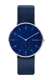 image of skagen men s aaren leather strap watch