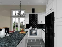 Einzigartige schwarz und weiß Küche Dekor mit Stein Wand und
