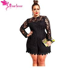 plus size overalls shorts dear lover black plus size long sleeve lace romper overalls playsuit