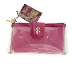 juicy couture cosmetic bag clear and hot pink with two zipper partments new