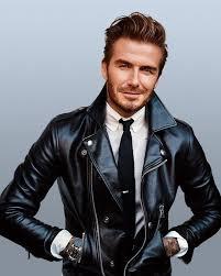 david beckham wearing black leather biker jacket white dress shirt black knit tie black leather watch men s fashion lookastic com
