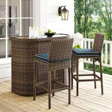 crosley furniture bradenton navy 3 piece outdoor wicker bar set with cushions