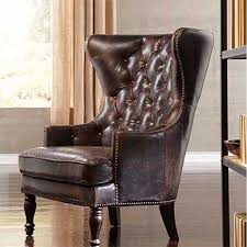 leather wingback chair with nailhead trim ideas for decorating a desk