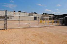 front view of chain link fence gate