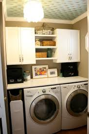 Interior: Small And Smart Laundry Room Organization Ideas, Small Laundry  Room With Smart Hanging Sorage and Twin Washer