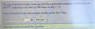 Sales Per Day Formula Solved The Rate Of Growth Of Sales Sales Per Day For A