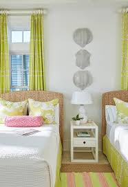 seagrass headboard with yellow and pink bedding