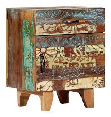 Hand Carved <b>Bedside Cabinet</b> 40x30x50 cm Solid Reclaimed Wood -