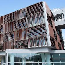 office building architecture. Custom Made Solar Shading Solution With Motorized Aluminium Louvers Office Building Architecture