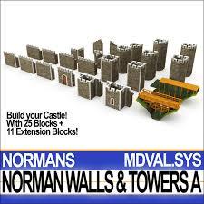 Medieval norman walls towers 3D model - TurboSquid 1163800