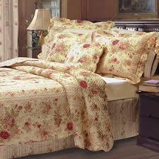 overview the cotton antique rose fl quilt bedding set
