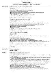 Restaurant Resume Example Restaurant Assistant Manager Resume Samples Velvet Jobs 43