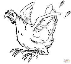 Small Picture Frightened Hen coloring page Free Printable Coloring Pages