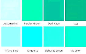 Different Shades Of Green Chart Turquoise And Teal Color Tonycharlesworth Co