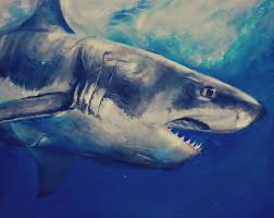 great white shark painting.  Great Great White Shark  Acrylic And White Shark Painting A
