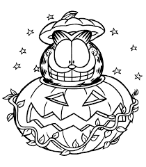Garfield Halloween Coloring Pages For Kids