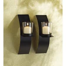 Amazon.com: Gifts & Decor Modern Art Candle Holder Wall Sconce Plaque, Set  of 2: Home & Kitchen