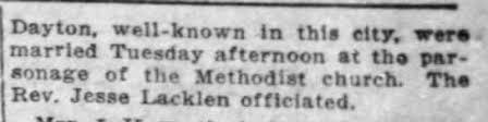 Effie Bradley & Clarke Dayton Marriage 1917 B - Newspapers.com