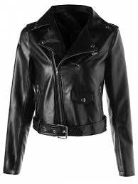 faux leather crop biker jacket with belt black l