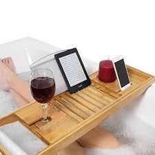 relux premium 100 natural bamboo bath caddy bridge extendable luxury book rest wine glass holder