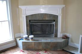 fireplace surround with a slate style porcelain tile tiles for images slate tiles for fireplace