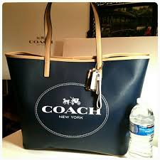 New Coach Saffiano Leather large metro tote navy