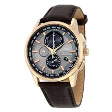 citizen at8113 04h men s eco drive world chronograph brown leather grey dial