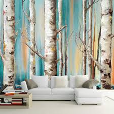 custom 3d mural wallpaper modern white birch trees oil painting tv sofa backdrop wallpaper living room