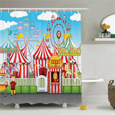 circus decor shower curtain set carnival with many rides and s ilration landscape cloudy sky bathroom accessories