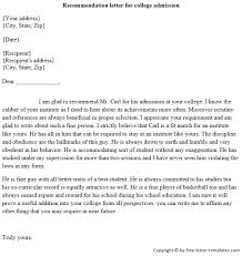 Writing A College Recommendation Letter For College Admissions Sample Admission Recommendation Letter