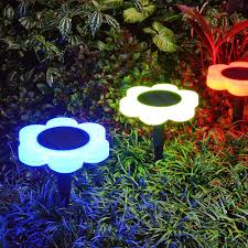 Color Changing Landscape Lights Highpot 2 Pack Solar Garden Lights Flower Shape Solar