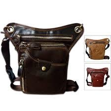 details about genuine leather thigh drop leg bag men messenger hip belt pack waist bags
