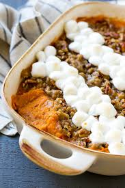 sweet potato casserole recipe with marshmallows and pecans. Plain Potato Sweet Potato Casserole With Marshmallows And Pecan Streusel A  Spoonful Removed In Potato Casserole Recipe With Marshmallows And Pecans D