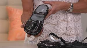 alegria leather slip on mary janes with adj strap tuscany on qvc