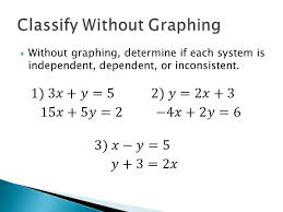 11 without graphing determine if each system is independent dependent or inconsistent