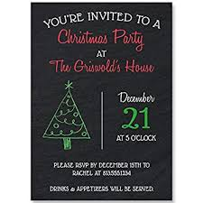 Christmas Holiday Invitations Chalkboard Christmas Holiday Party Invitations Black Red Green Holiday Tree 10 Printed Invites
