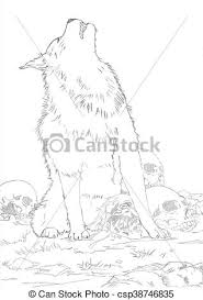 white wolf howling drawing. Perfect Wolf White Wolf  Csp38746835 For Howling Drawing D