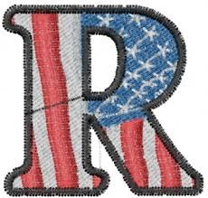 American Flag Letter R Embroidery Design Annthegran