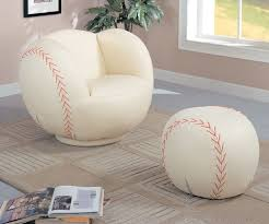 unique ball bean bag chairs and round ottoman in cream color over cream fur rug and