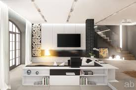 Interior : Graceful Black And White Living Room Modern Design Ideas With  Bookcase And Lcd Tv With Unique Rack Cabinets And Marble Ceramic Tile  Flooring ...